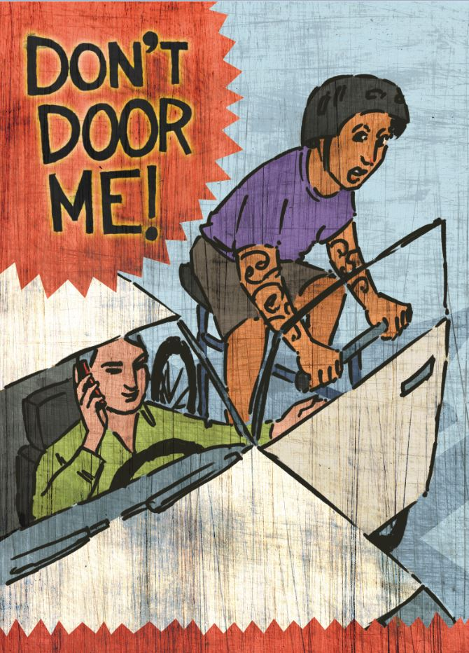 Don't door me!  Bicyclist swerves while a car driver on a mobile phone is swing open the car door without first looking that it is safe to do so.