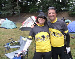 Seattle bike attorney Rob Levin with his wife Deidre cycling trip camp ground.
